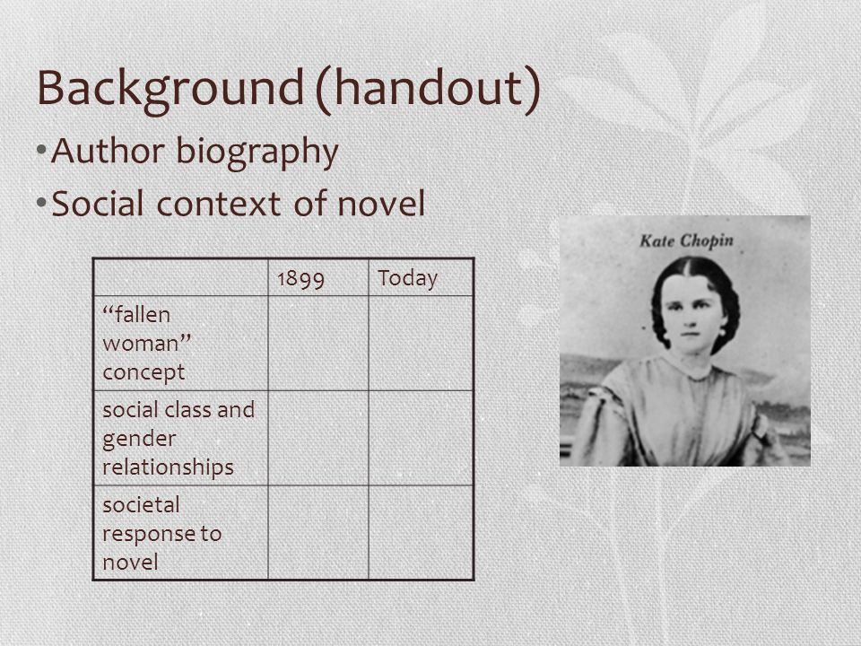 Background (handout) Author biography Social context of novel 1899