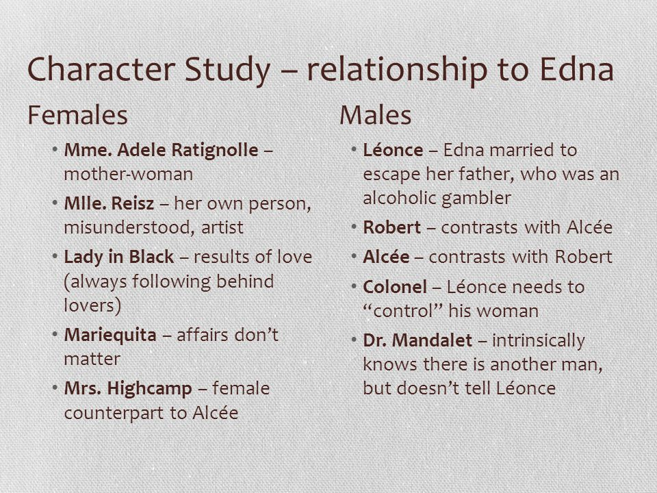 Character Study – relationship to Edna
