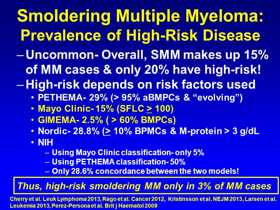 Smoldering Multiple Myeloma: Prevalence of High-Risk Disease