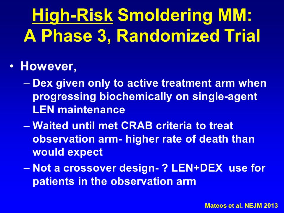High-Risk Smoldering MM: A Phase 3, Randomized Trial