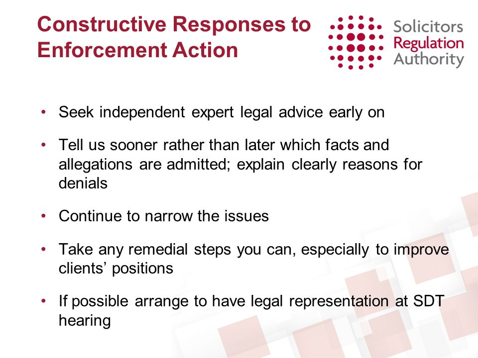 Constructive Responses to Enforcement Action