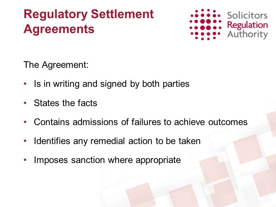 Regulatory Settlement Agreements
