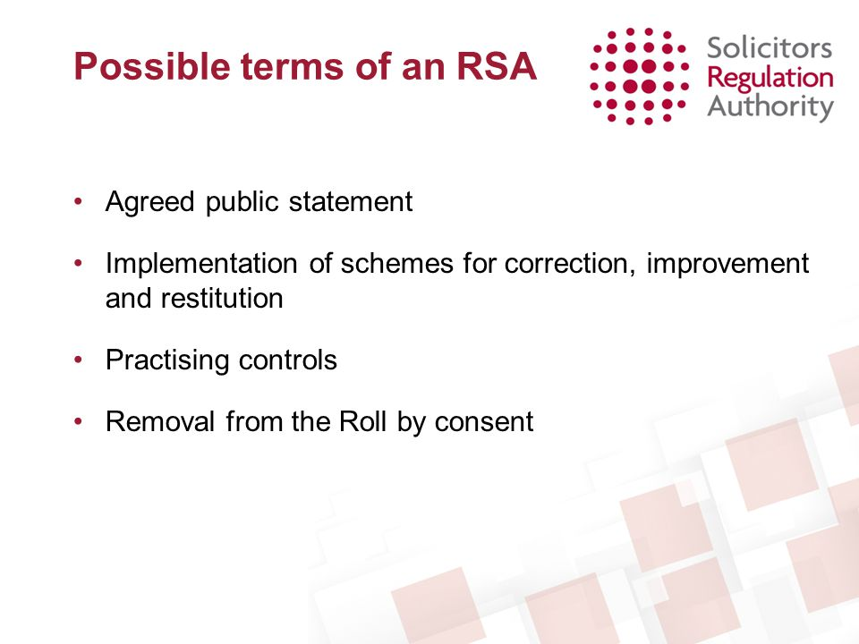 Possible terms of an RSA