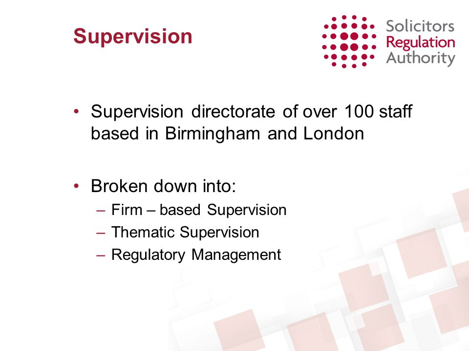 Supervision Supervision directorate of over 100 staff based in Birmingham and London. Broken down into: