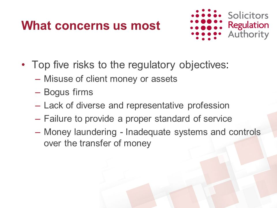 What concerns us most Top five risks to the regulatory objectives: