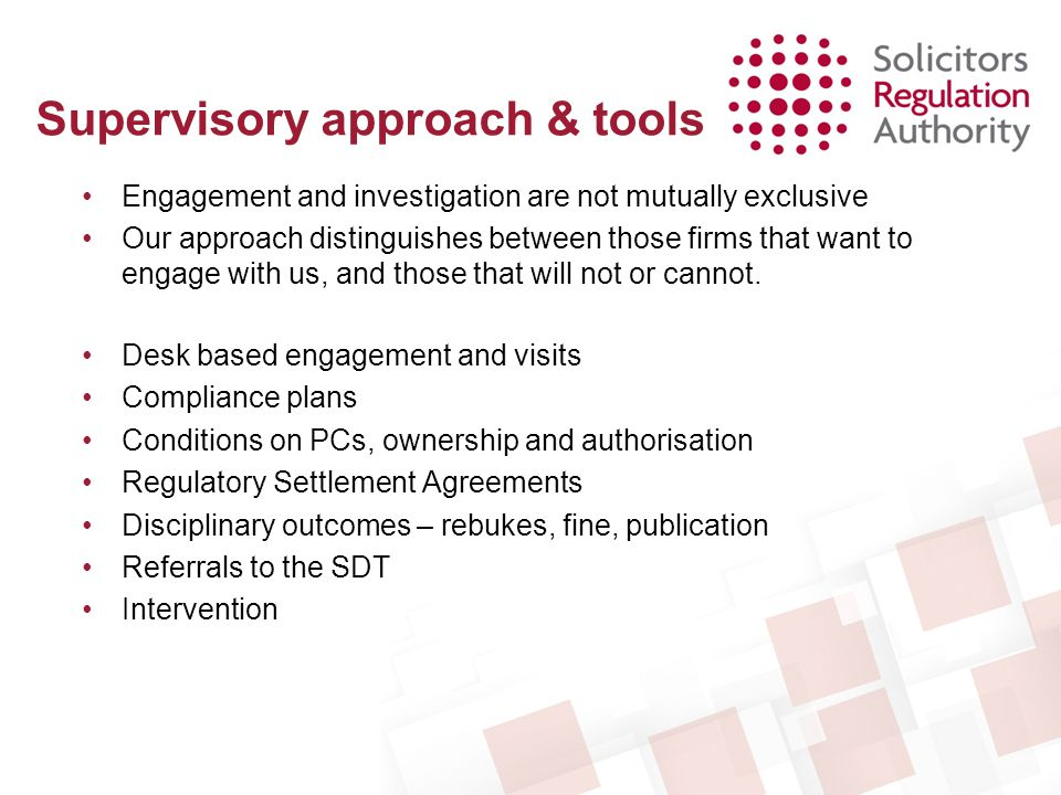 Supervisory approach & tools