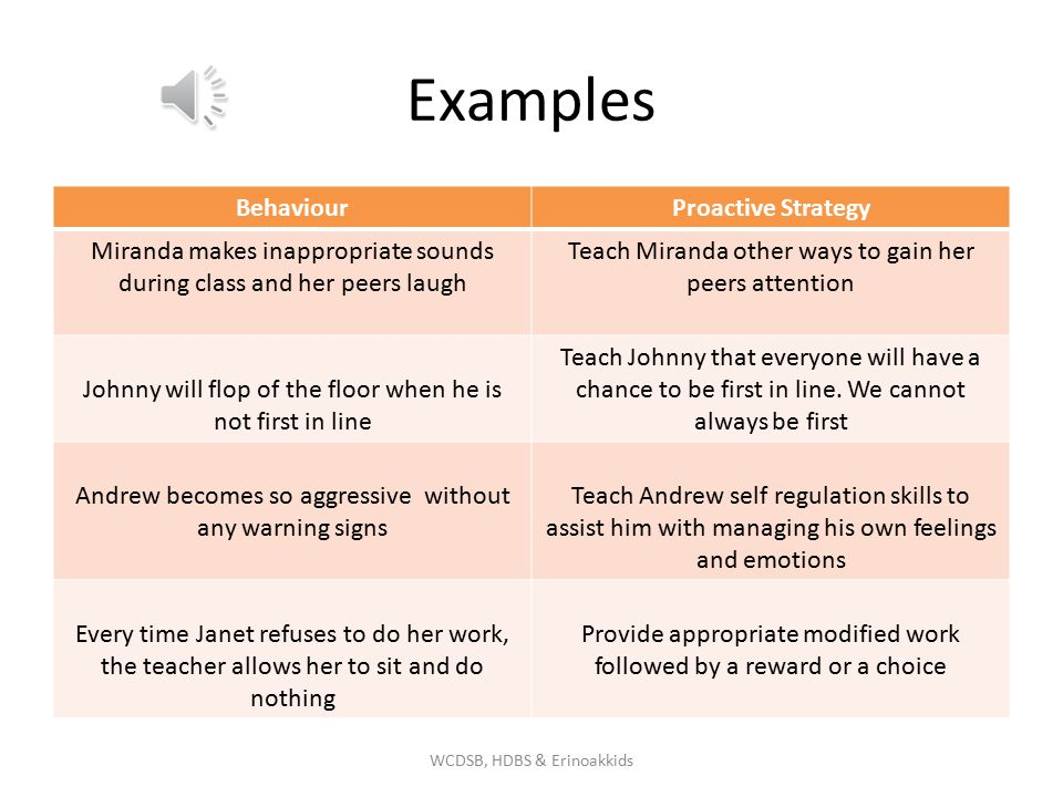 Examples Behaviour Proactive Strategy