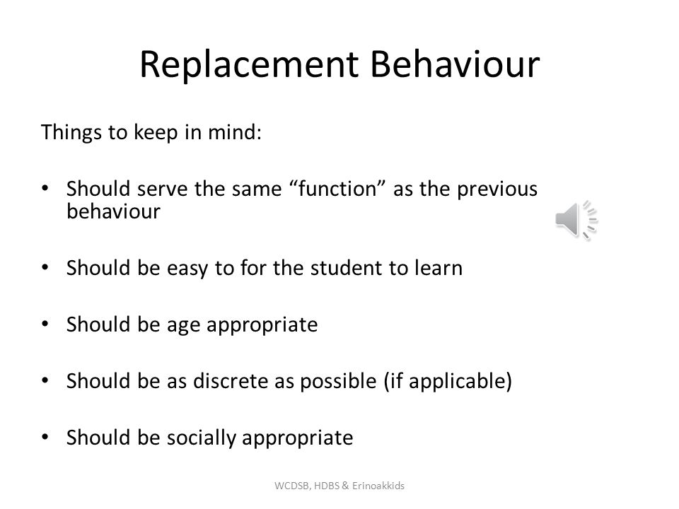 Replacement Behaviour