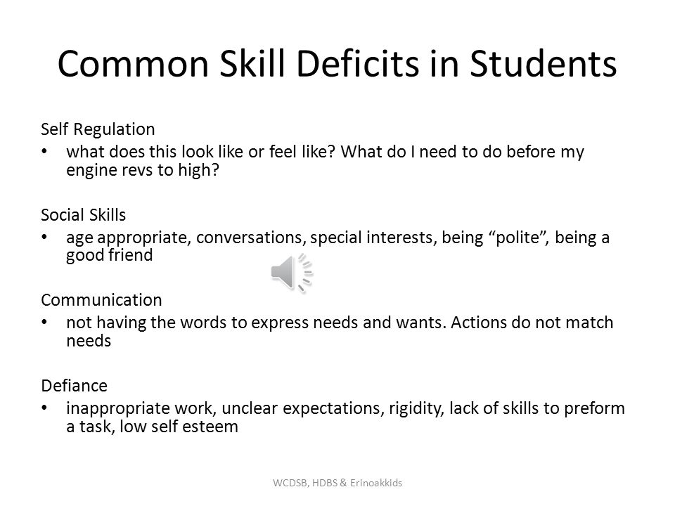Common Skill Deficits in Students