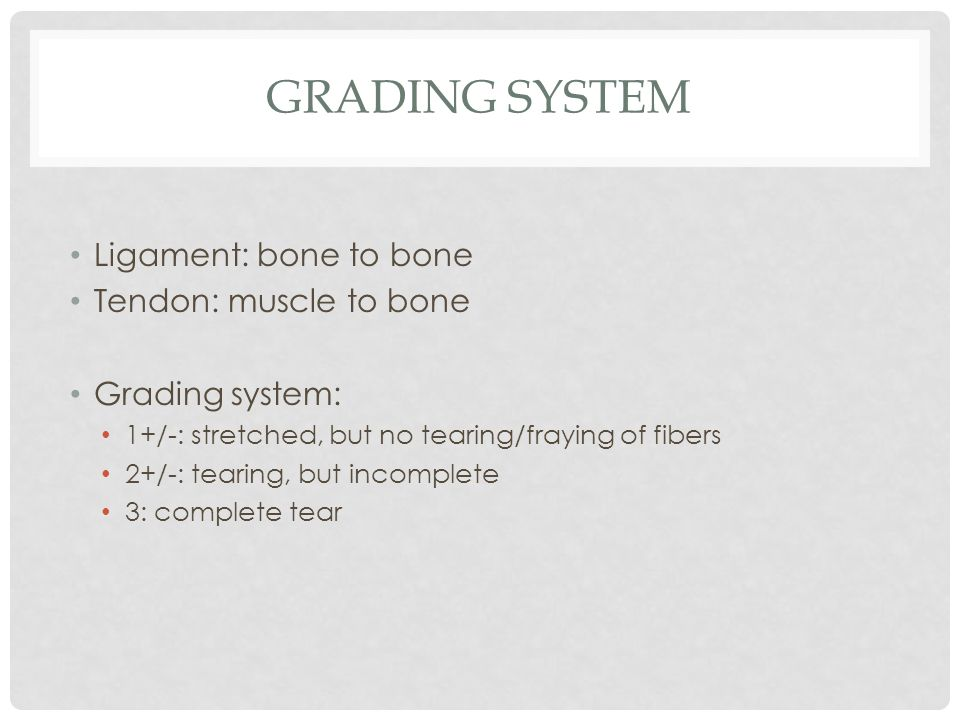 Grading system Ligament: bone to bone Tendon: muscle to bone