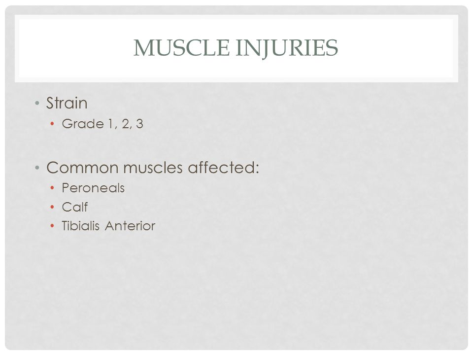 Muscle Injuries Strain Common muscles affected: Grade 1, 2, 3
