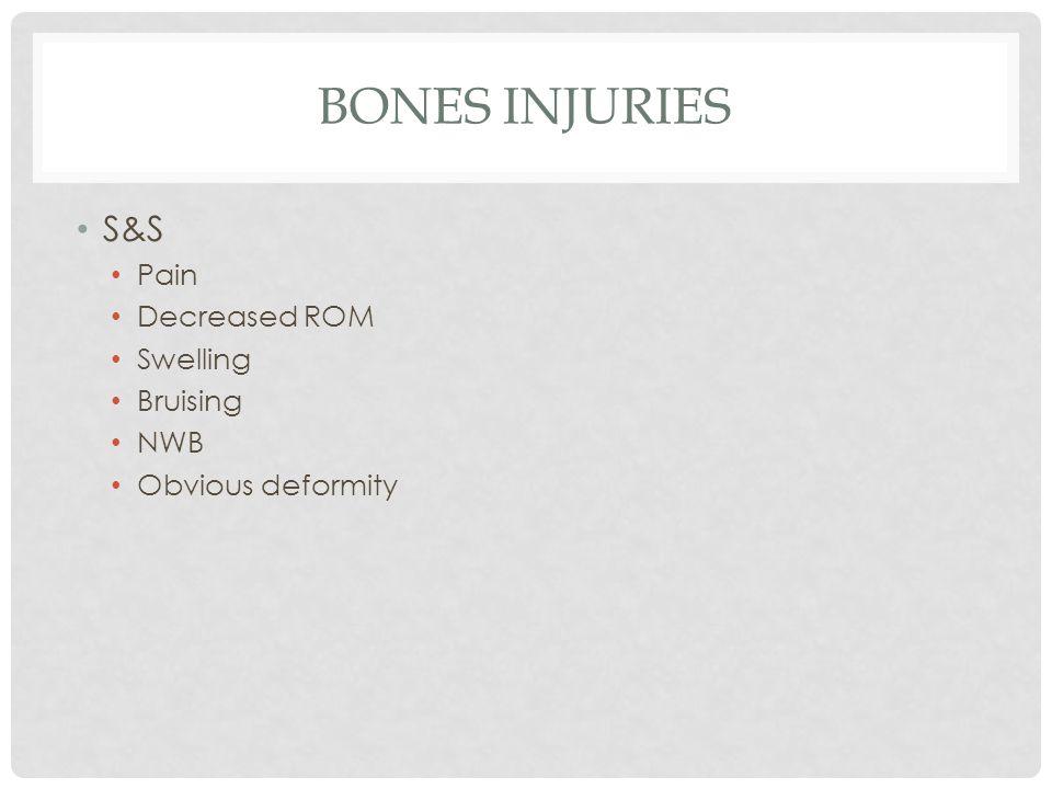 Bones injuries S&S Pain Decreased ROM Swelling Bruising NWB