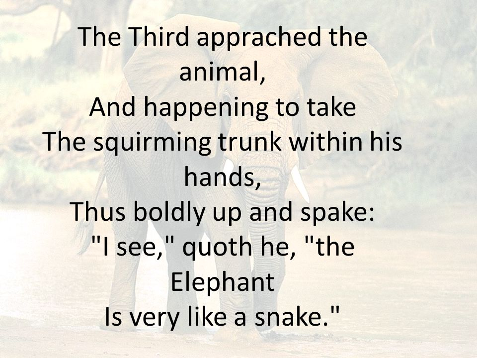 The Third apprached the animal, And happening to take The squirming trunk within his hands, Thus boldly up and spake: I see, quoth he, the Elephant Is very like a snake.