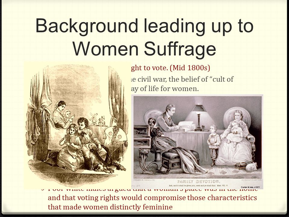 Background leading up to Women Suffrage