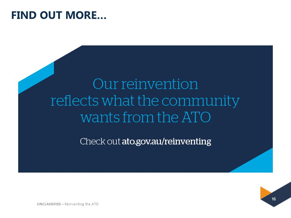 FIND OUT MORE… UNCLASSIFIED – Reinventing the ATO