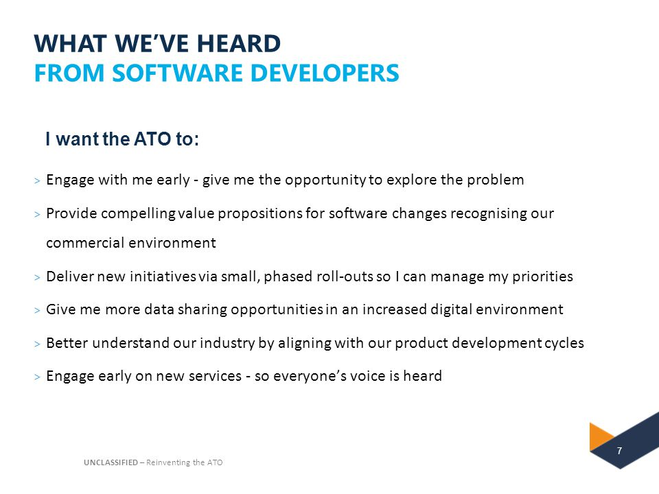 WHAT WE'VE HEARD FROM SOFTWARE DEVELOPERS