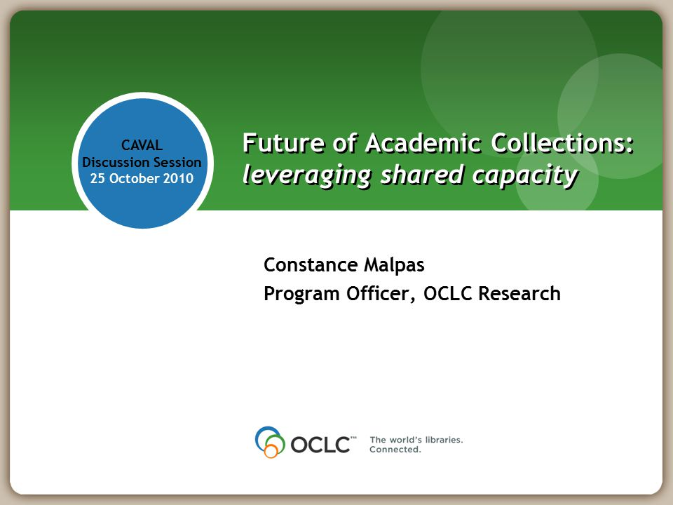 Future of Academic Collections: leveraging shared capacity