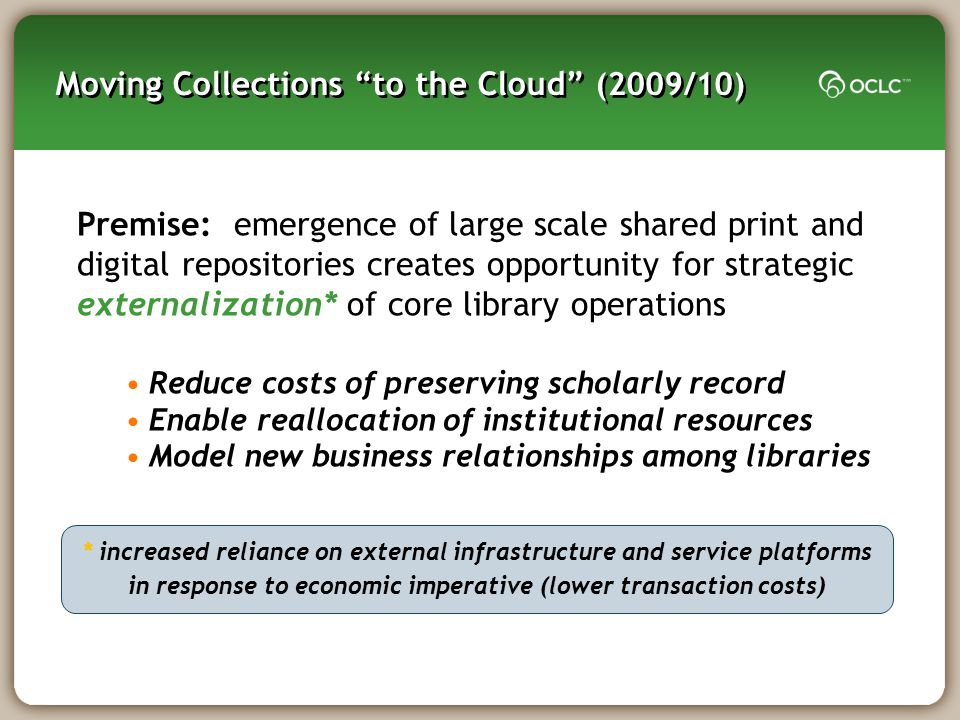 Moving Collections to the Cloud (2009/10)