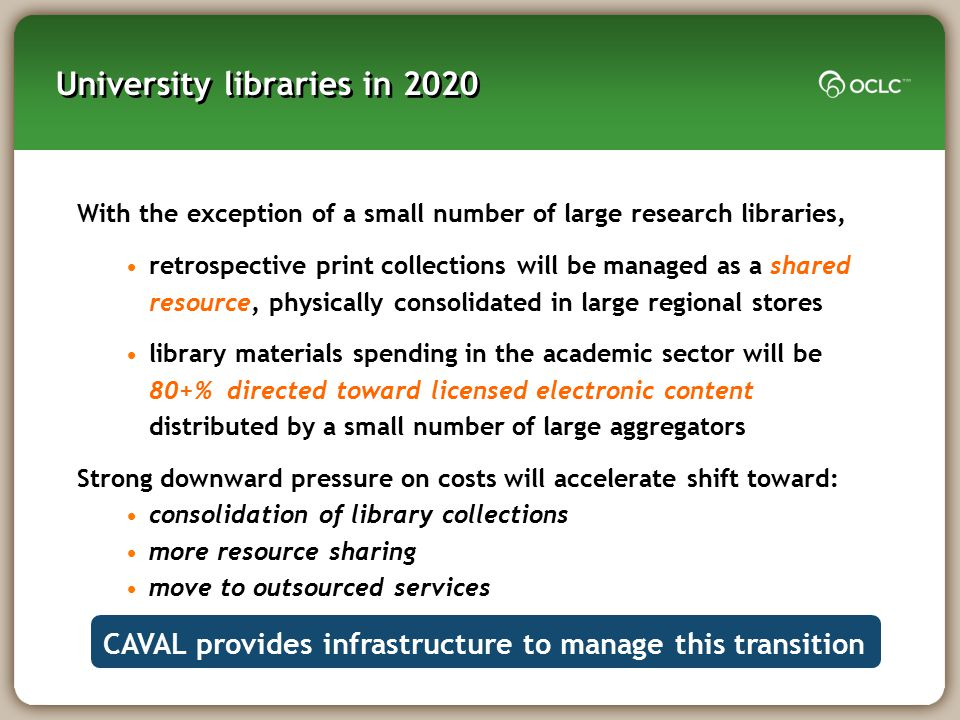 University libraries in 2020