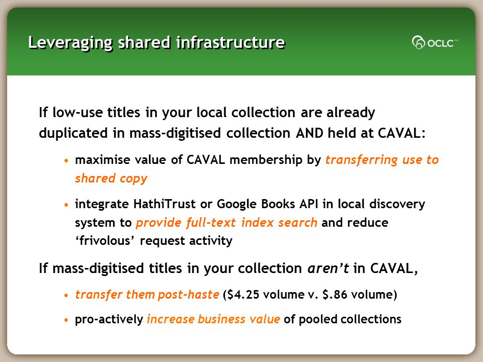 Leveraging shared infrastructure