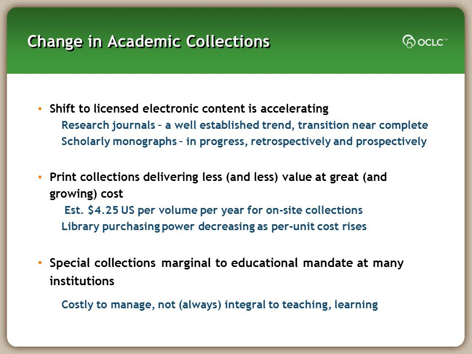 Change in Academic Collections