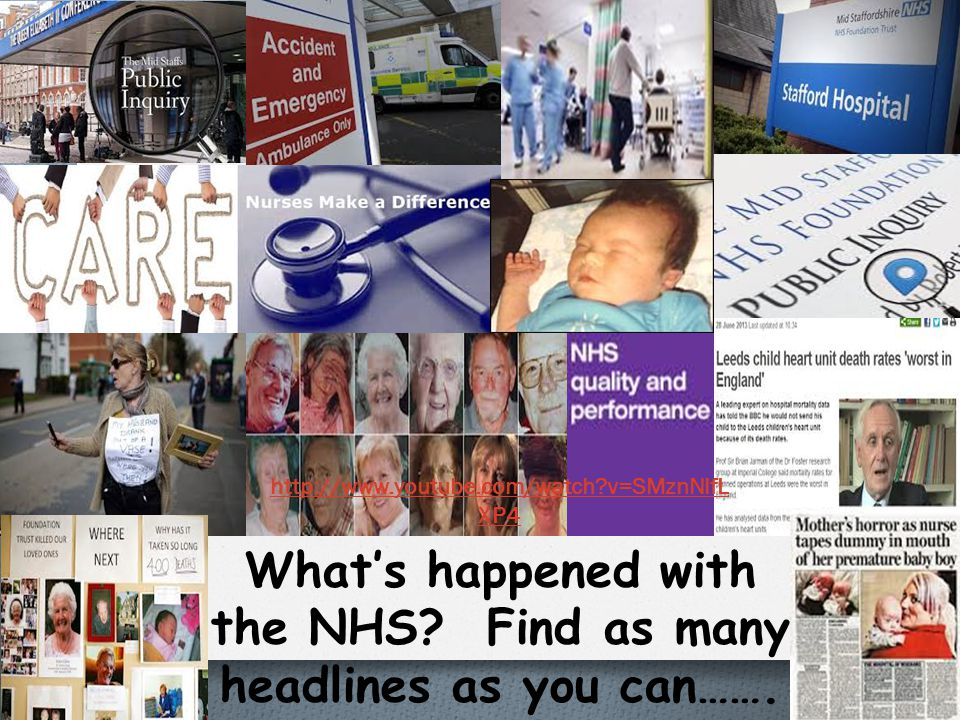 What's happened with the NHS Find as many headlines as you can…….