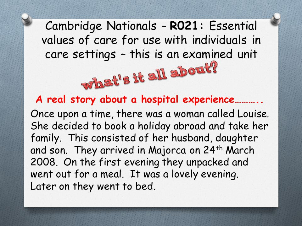 Cambridge Nationals - R021: Essential values of care for use with individuals in care settings – this is an examined unit