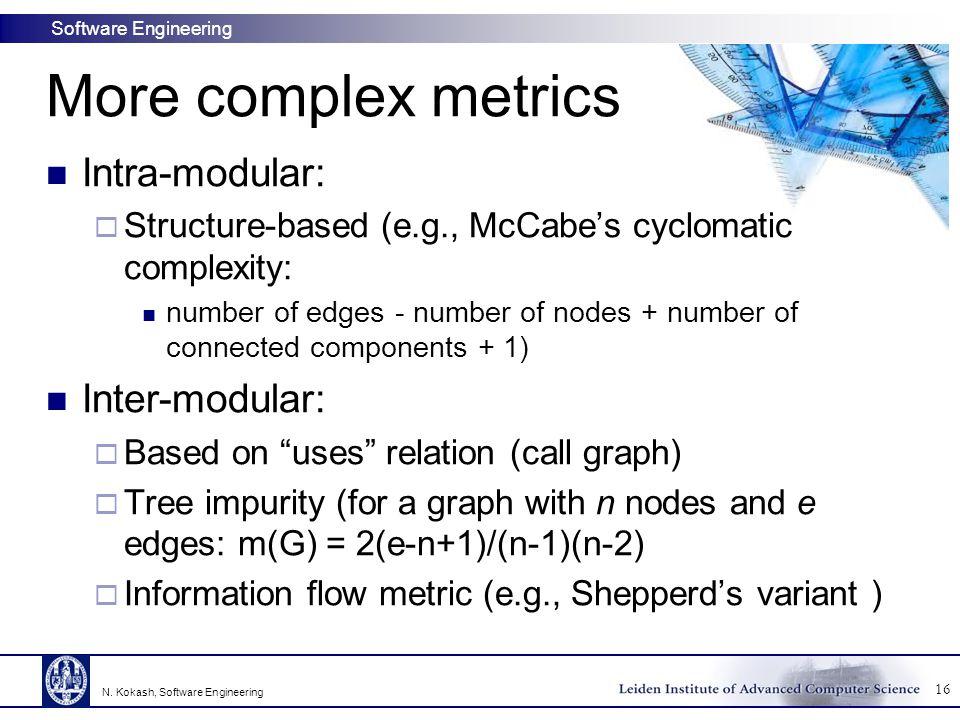 More complex metrics Intra-modular: Inter-modular:
