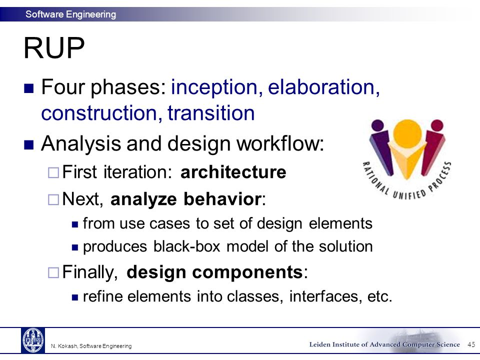 RUP Four phases: inception, elaboration, construction, transition