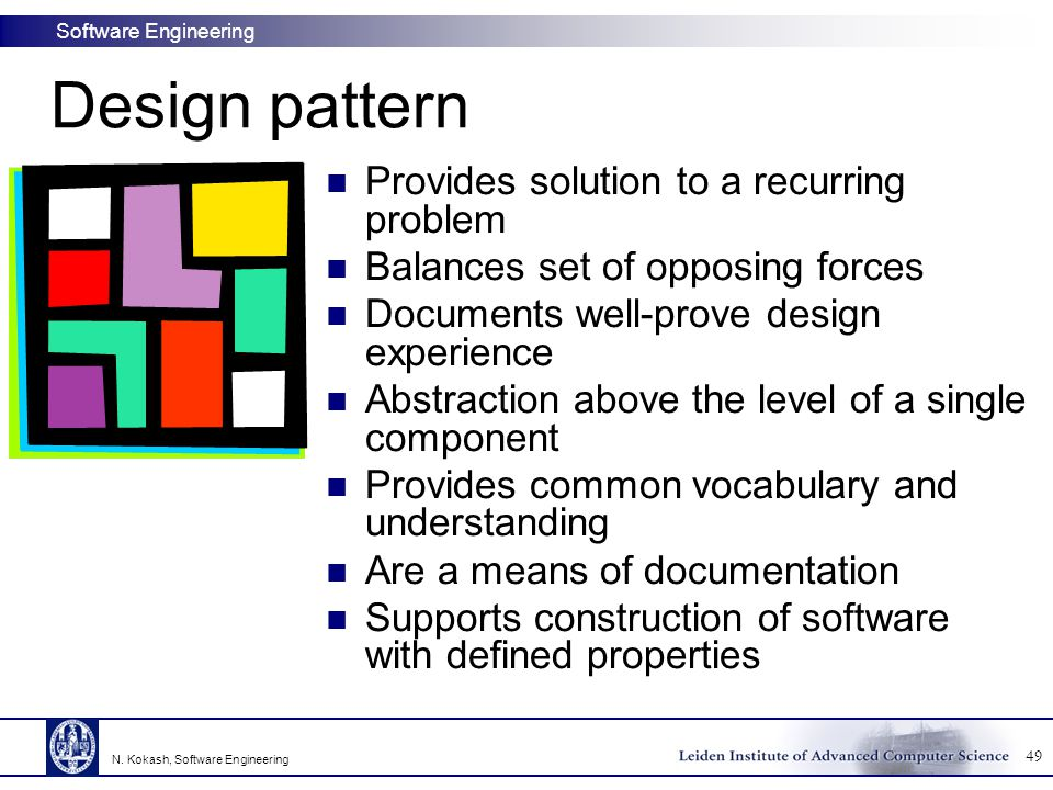 Design pattern Provides solution to a recurring problem