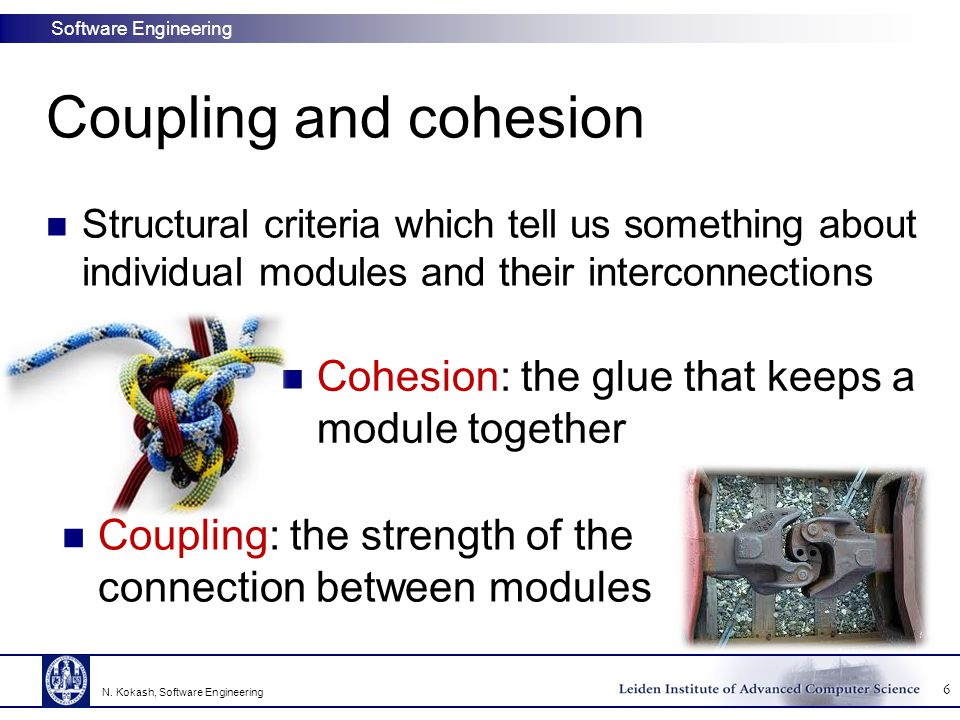Coupling and cohesion Cohesion: the glue that keeps a module together
