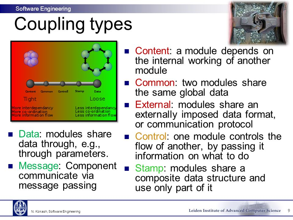 Coupling types Content: a module depends on the internal working of another module. Common: two modules share the same global data.