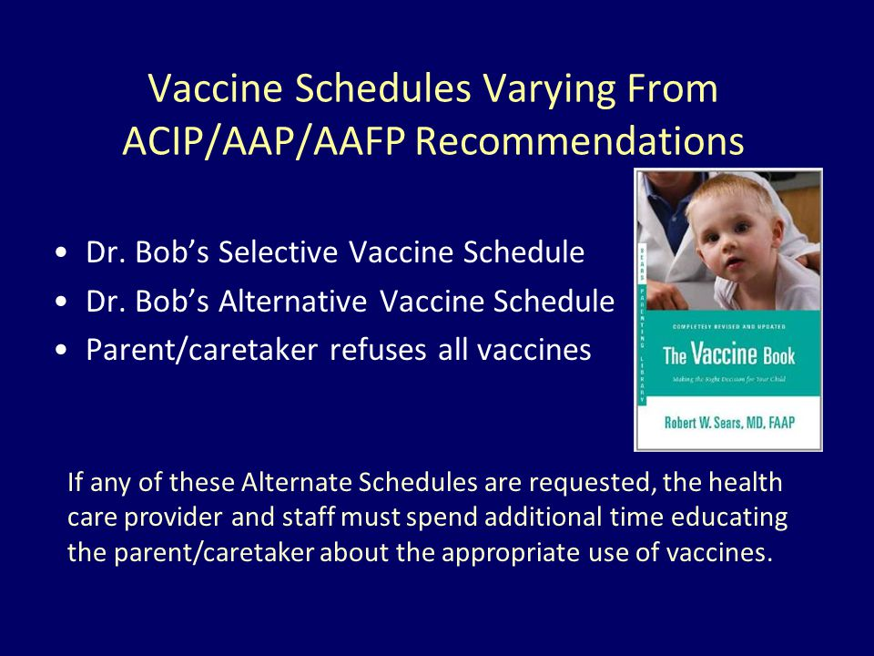 Vaccine Schedules Varying From ACIP/AAP/AAFP Recommendations