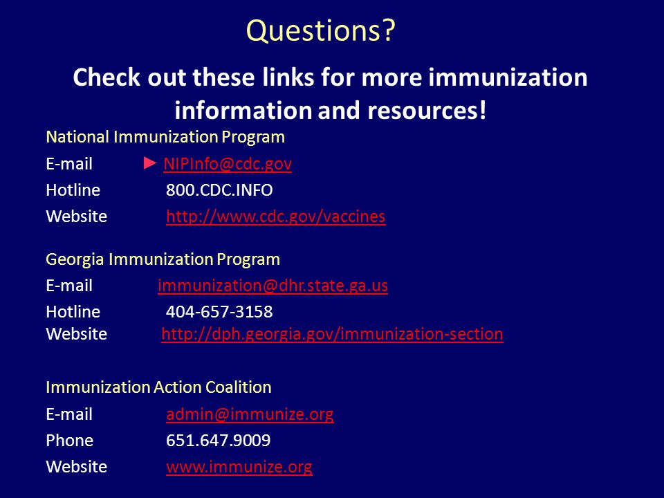 Check out these links for more immunization information and resources!