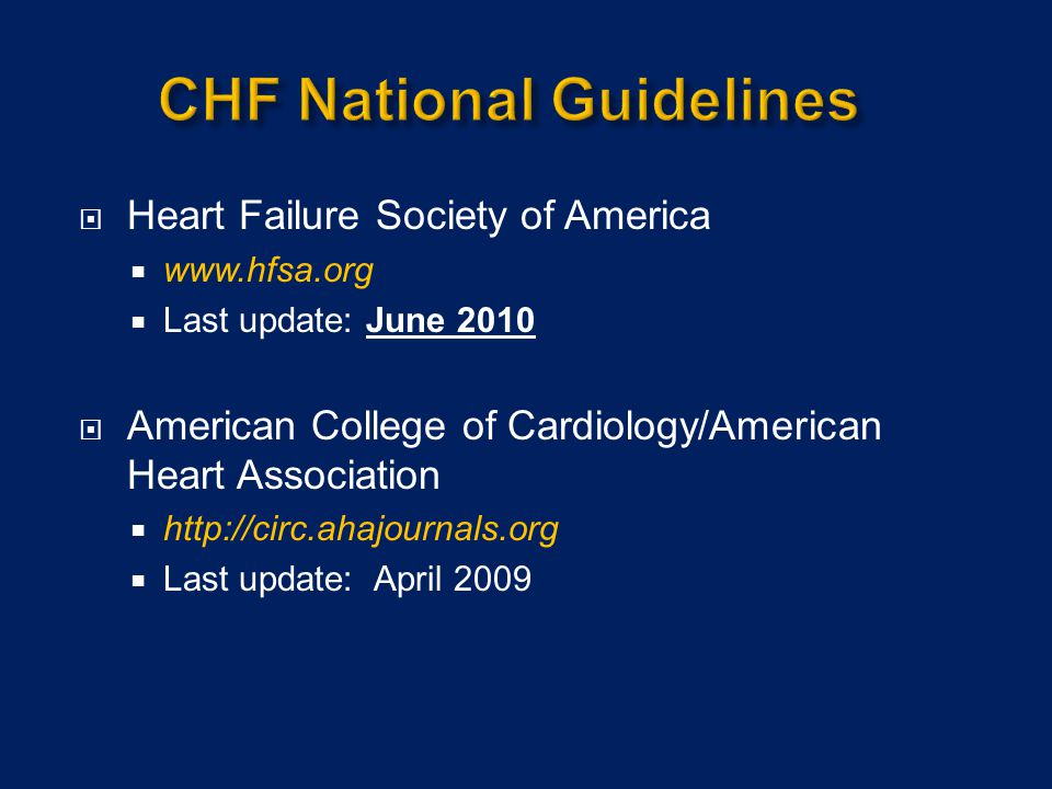 CHF National Guidelines