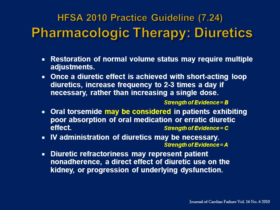 HFSA 2010 Practice Guideline (7.24) Pharmacologic Therapy: Diuretics