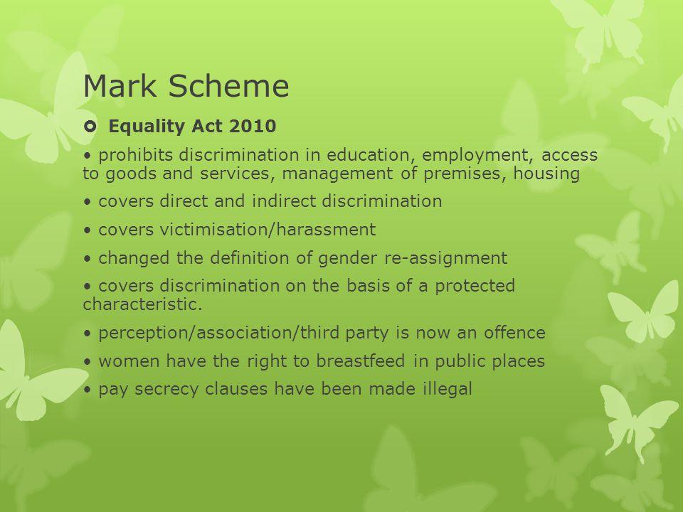 Mark Scheme Equality Act 2010