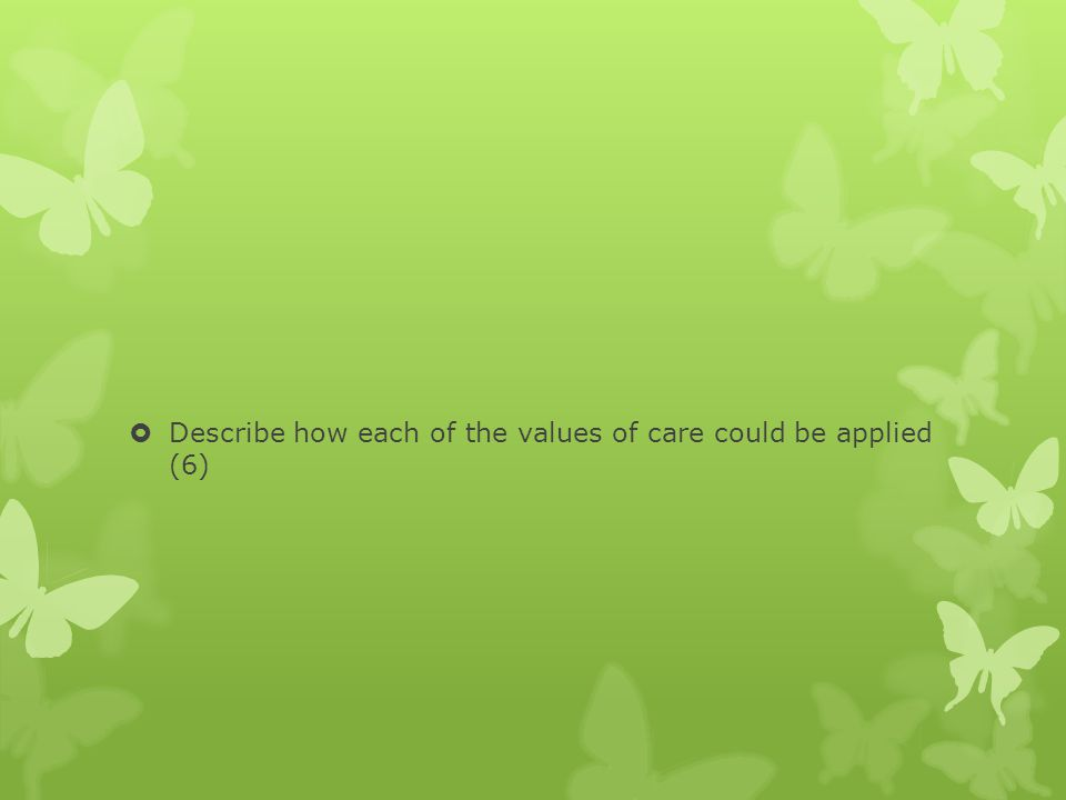 Describe how each of the values of care could be applied (6)