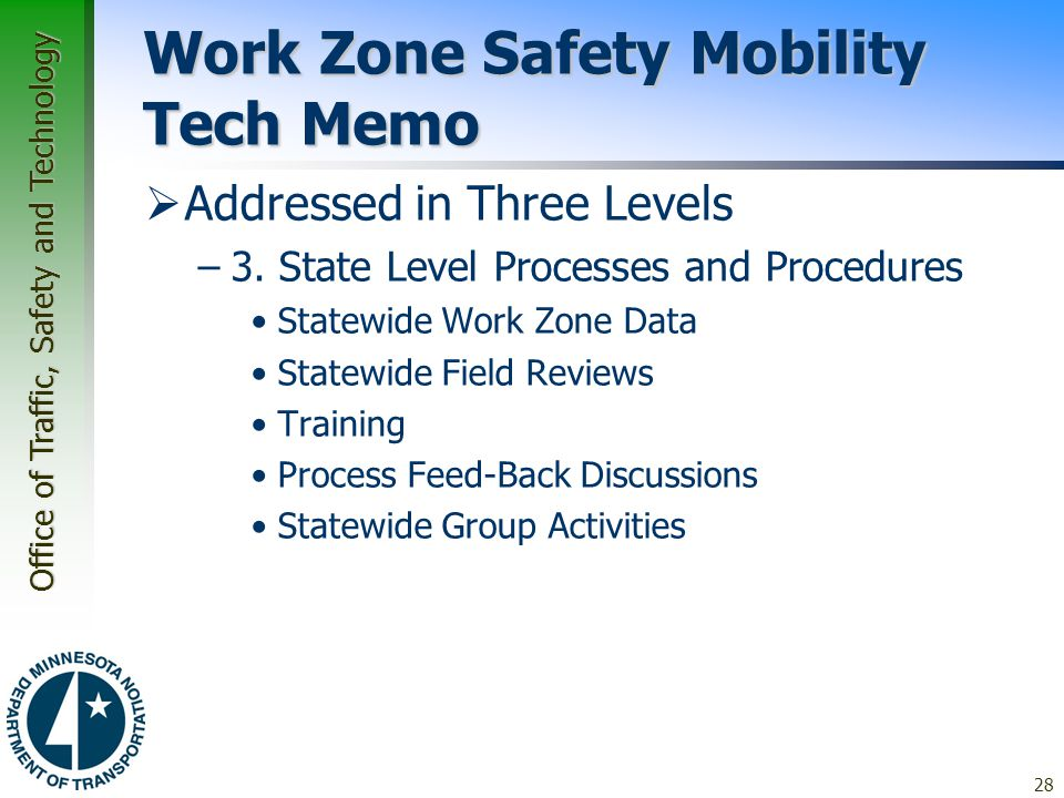 Work Zone Safety Mobility Tech Memo