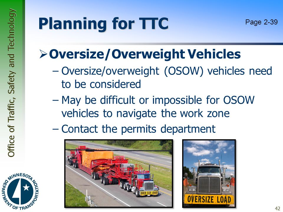 Planning for TTC Oversize/Overweight Vehicles