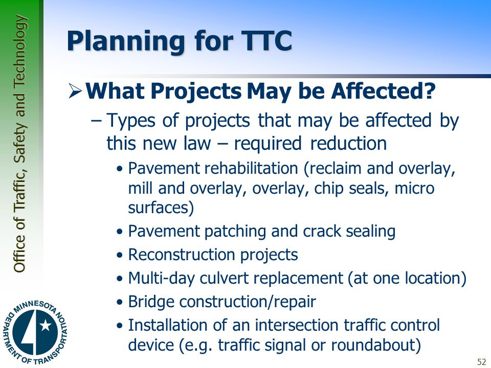 Planning for TTC What Projects May be Affected