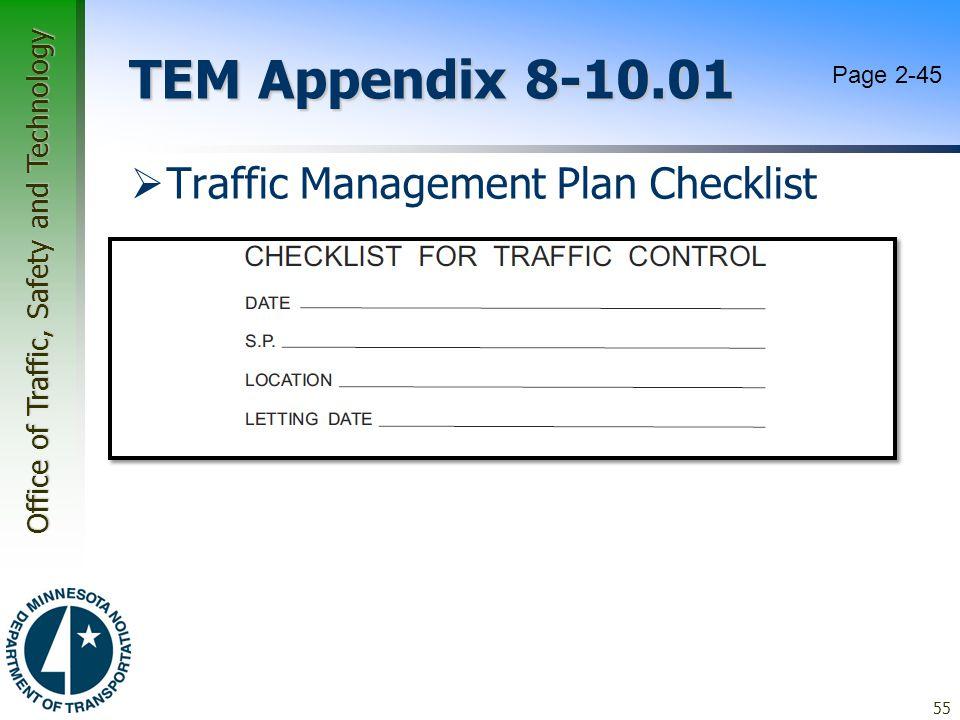 TEM Appendix 8-10.01 Page 2-45 Traffic Management Plan Checklist