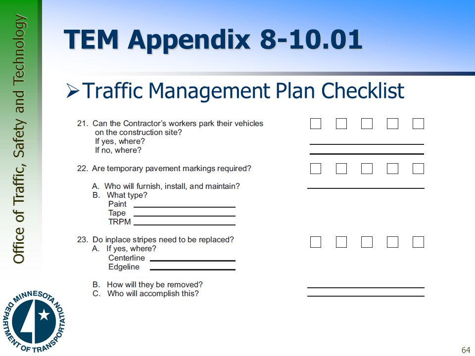 TEM Appendix 8-10.01 Traffic Management Plan Checklist