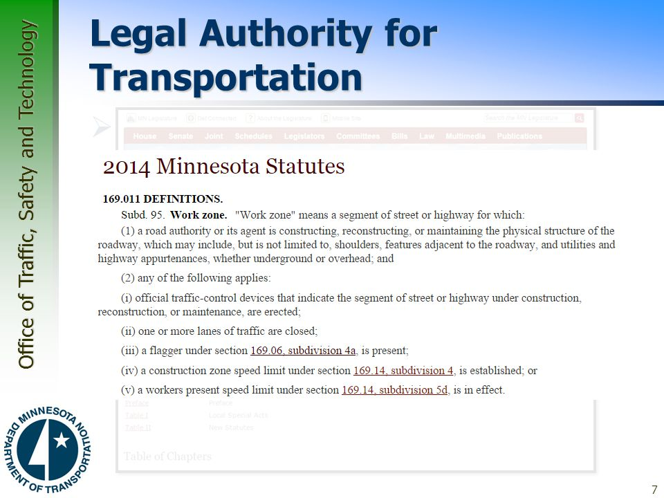 Legal Authority for Transportation