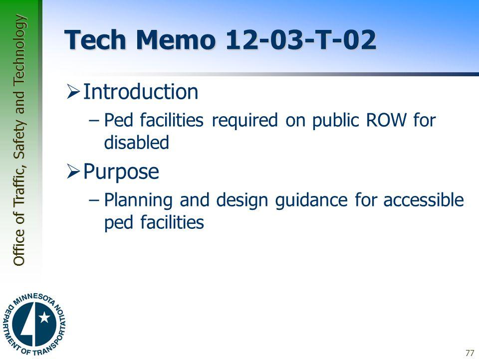 Tech Memo 12-03-T-02 Introduction Purpose