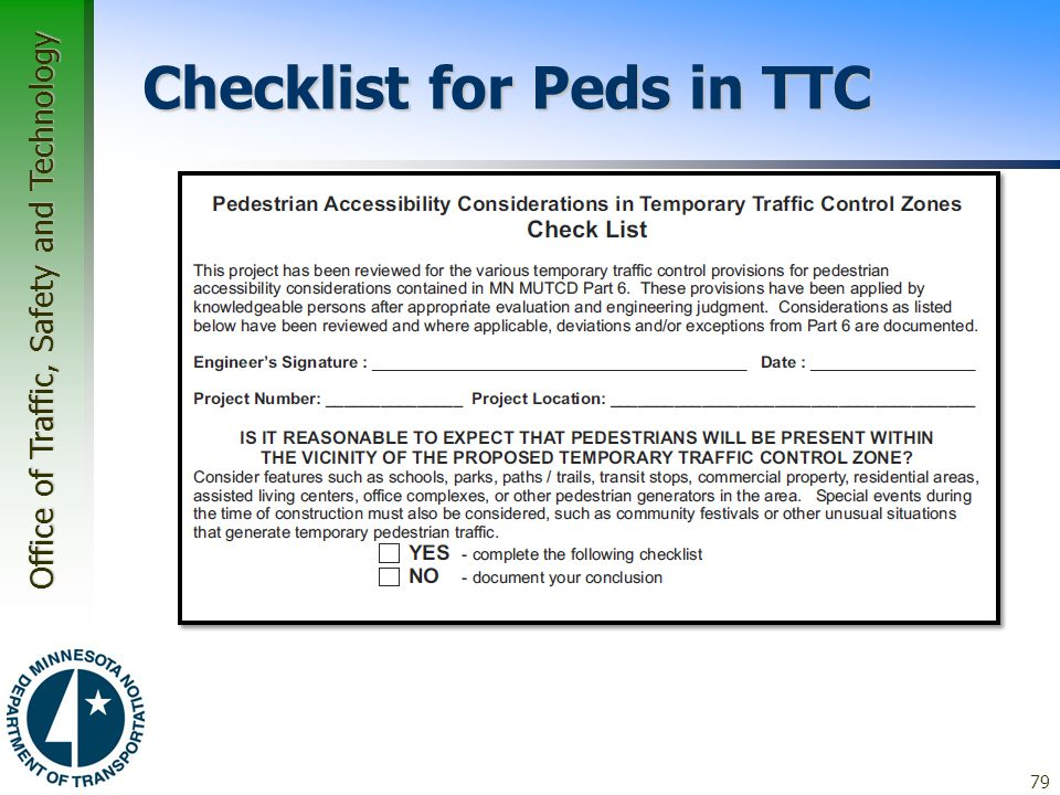 Checklist for Peds in TTC
