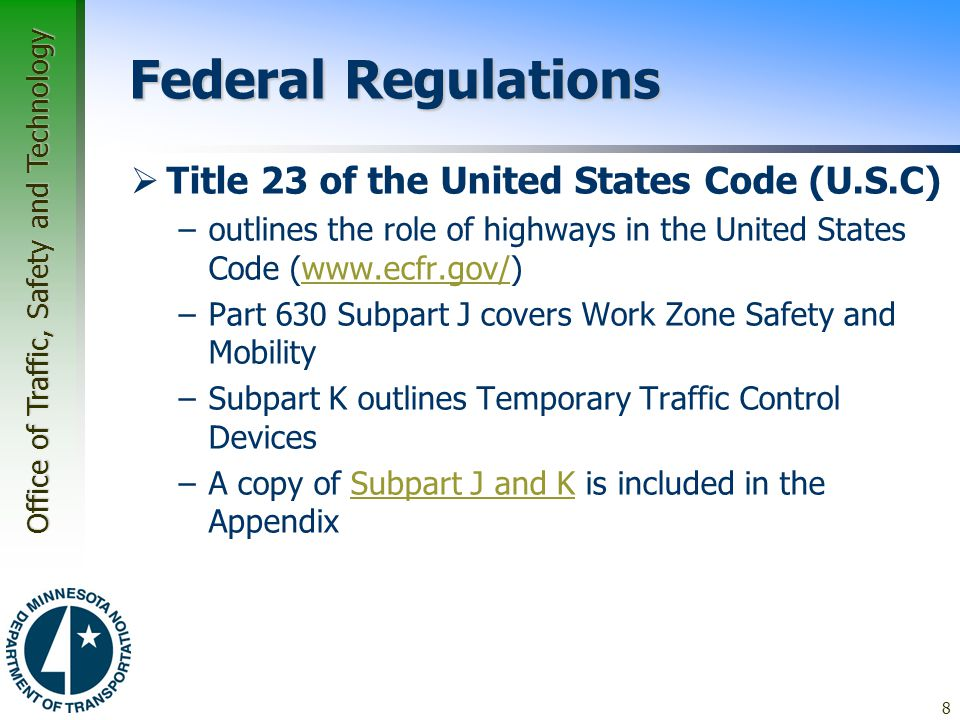Federal Regulations Title 23 of the United States Code (U.S.C)