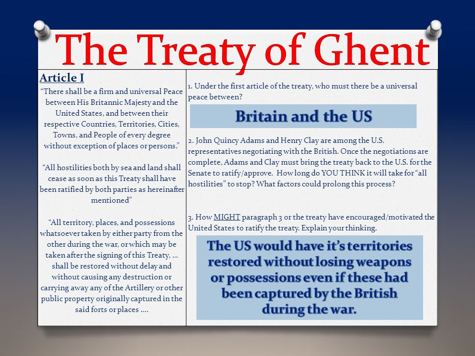 The Treaty of Ghent Britain and the US