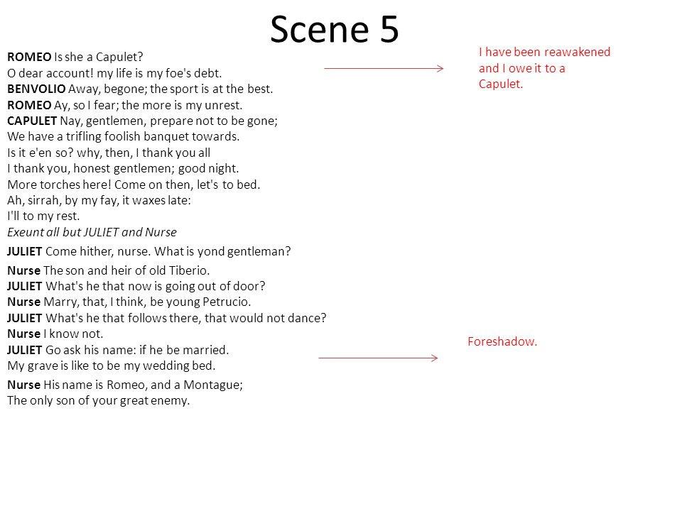 Scene 5 I have been reawakened and I owe it to a Capulet.