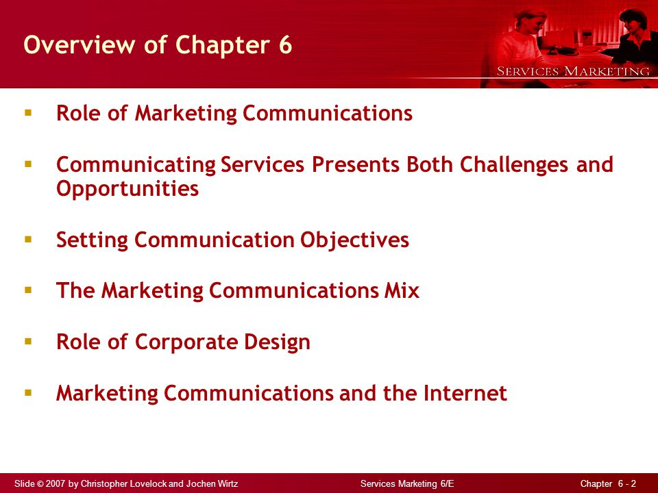 Overview of Chapter 6 Role of Marketing Communications